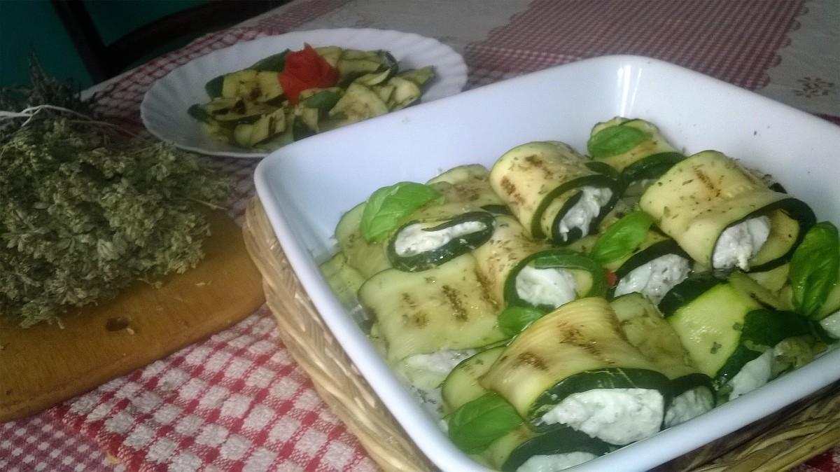Involtini di zucchine grigliate e tonno